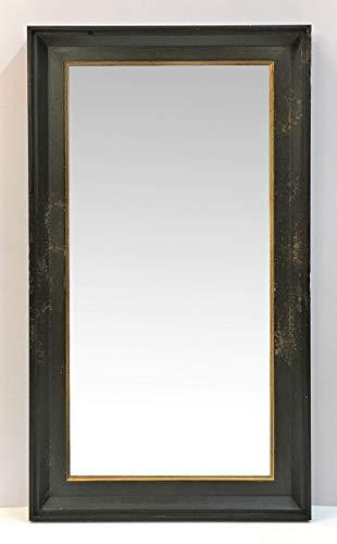 Specchio rettangolare con cornice sagomata,wengè con bordino oro,effetto usurato ad arte stile vintage/industrial,cm60x110