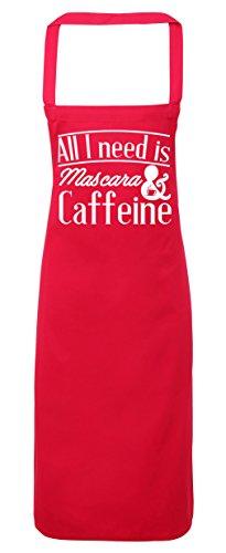 College Kostüme Diy (hippowarehouse All I Need is Mascara & Koffein Schürze Küche Kochen Malerei DIY Einheitsgröße Erwachsene, fuchsia pink,)
