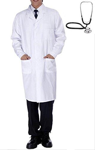 ([Laecheln meisten] Maenner Doktor Cosplay langaermeligen Pruefung Kleidung authentisch weissen Mantel der Maenner lange Laenge Ein-Knopf mit weissen beide Seiten Tasche Groesse [set] weissen Mantel Stethoskop / Kostuem Halloween [A115-03] (2. L-Groesse))