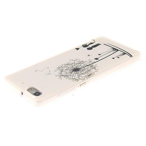 Huawei G Play Mini hülle,MCHSHOP Ultra Slim Skin Gel Schlank TPU Case Schutzhülle Silikon Silicone Schutzhülle Case Back Cover für Huawei G Play Mini (Honor 4C) - 1 Kostenlose Stylus Pen (weiße tiger  Löwenzahn sich verlieben