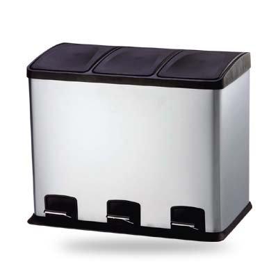 *36 Liter Design Treteimer, Abfalleimer, Mülleimer | Edelstahl Ausführung | Trennsystem 3x 12 Liter Inneneimer mit Tretfunktion*