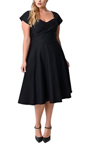 Brinny Grande Taille Sexy Col V Femmes 1950s Vintage Rétro Robe de demoiselle d'honneur / Soirée / Cocktail / Rockabilly / Mariage Noir S - 3XL Noir