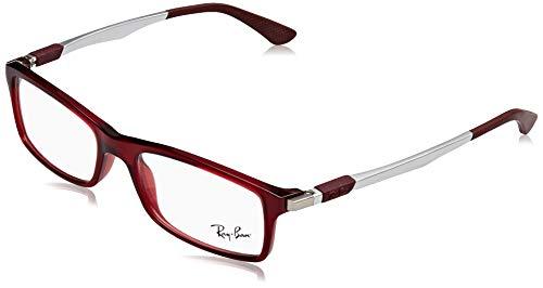 Ray-Ban Herren 0RX7017 Brillengestelle, Rot (Transparente Red), 52