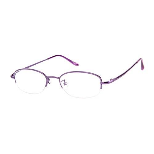 Aiweijia Frauen Lesebrille Oval Halbrahmen Metallrahmen Brillen rosa lila gold +0.5 bis +4.0