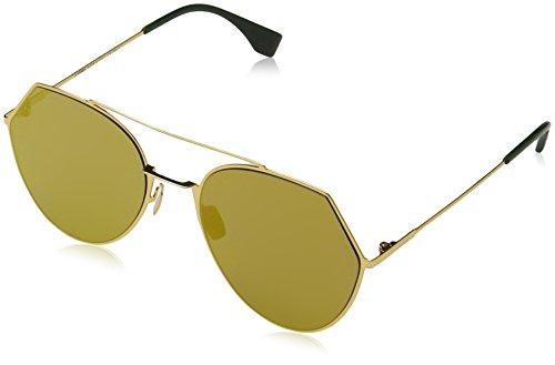 Fendi Damen FF 0194/S 83 001 Sonnenbrille, Gelb (Yellow Gold/Brw Gd Grey Speckled Ar Marl), 55