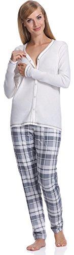 Italian Fashion IF Allattamento Pigiama per Donna Aurora 0223 (Ecru, S)