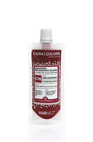 HAIRMED - Cura e Colore - Maschera Riflessante Capelli - Bagno di Colore Senza Ammoniaca - Gloss C76 - Melograno - 40 ml