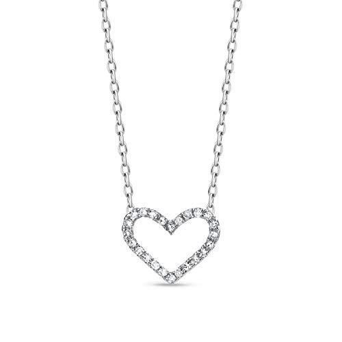 Orovi Collana - Pendente - Ciondolo Donna Cuore con Catena in Oro Bianco con Diamanti Taglio Brillante Ct 0.06 Oro 9 Kt / 375 Catenina Cm 45