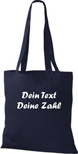 ShirtInStyle Stoffbeutel Baumwolltasche mit deinem Wunschtext veredelt Farbe Fuchsia navy