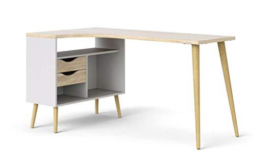 Tvilum Oslo Eckschreibtisch Winkelschreibtisch 145 x 80 cm Winkeltisch Weiß/Eiche Sonoma -