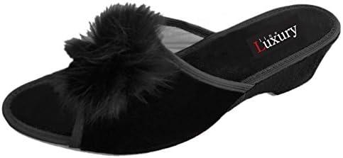 Luxury Line - Zapatillas de estar por casa de Terciopelo para mujer