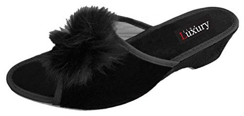 Luxury Line Damen Hausschuhe, Schwarz - Schwarz - Größe: 40 (Trim Bunny)