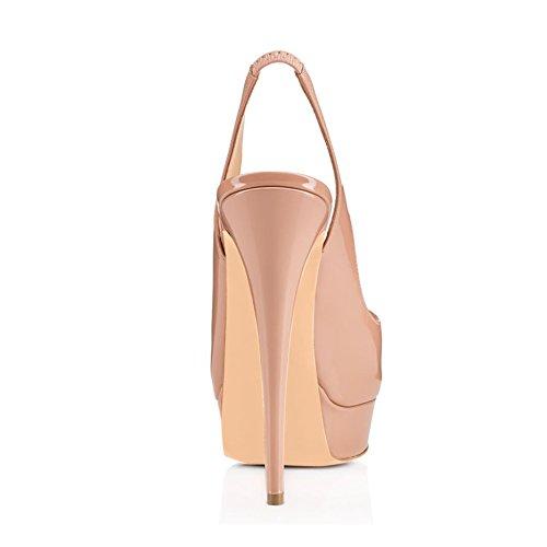 Arc-en-Ciel Damenschuhe Plattform Peep Toe leichte Rücken High Heel Sandalen Nude
