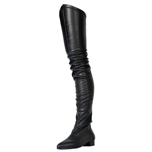 EKS Frauen Reizvolle Slouchy Schwarze Flache Spitze Oberschenkel Hohe Stiefel 47 EU (Hohe Flache Schwarze Stiefel)