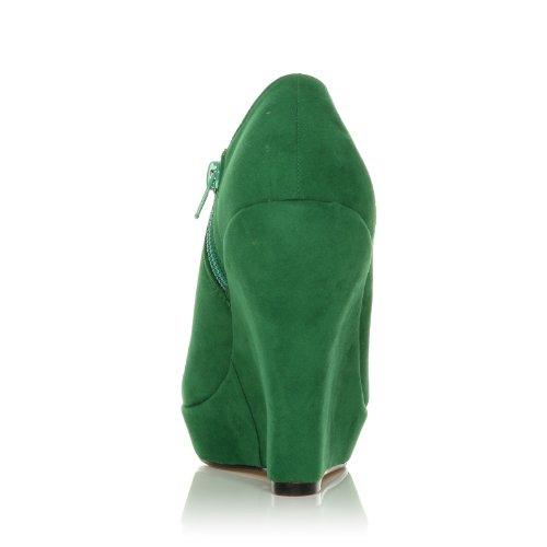 ShuWish UK - Chaussures plateformes talons très hautes en faux daim vert H051 Daim vert