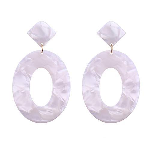 LIGHTBLUE Bohemian Resin Bunte Lange runde Ohrringe baumeln Tropfenohrring für Frauen Statement Schmuck, weiß