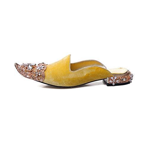 Rex rabbit-SS Fetisch Schuhe Europäische und amerikanische Mode große Damen Sandalen Band Stiletto Mode Sandalen,Yellow,38 Band Stiletto