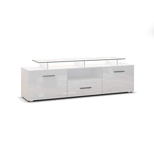 Meuble TV bas Almada, Corps en Blanc mat / Façades en Blanc en haute brillance