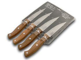 Hen and Rooster International 4 Piece Wooden Jumbo Steak Knife Knives Set Coltello