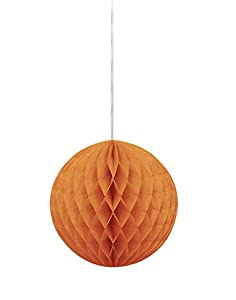 Unique Party Bola de Papel de Seda en Forma de Panal, Color Naranja, 20 cm (64256)
