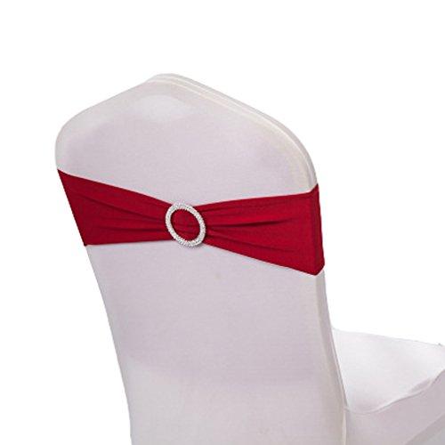 Teerfu Stretch-Stuhl-Bezüge, Hussen, Hochzeitsdekoration, elastische Stuhl-Schärpen / -Schleifen, Stuhl-Bänder mit Schnallen, 50 Stück weinrot
