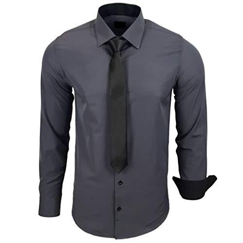 Baxboy 444-BK Herren Kontrast Hemd Business Hemden mit Krawatte Hochzeit Freizeit Fit, Größe:2XL, Farbe:Anthrazit