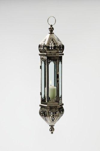 Orientalische Lampe Laterne Höhe 50 cm incl. KETTE indische Hängelampe Glaslampe Orientlaterne Glas/Metall