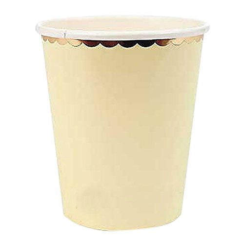 be Folie Gold 22,9cm quadratisch Pappteller Kuchen Dessert Vorspeisen Stabile Wachs Beschichtete Pappteller Party, gelb, 270ml ()