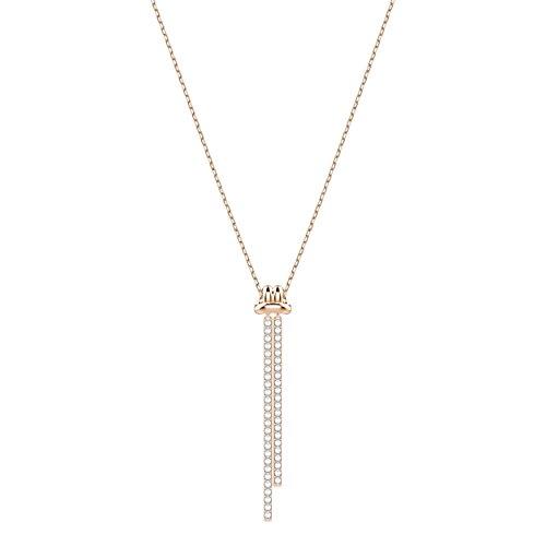 Swarovski pendente da donna a y lifelong, bianco, placcato oro rosa