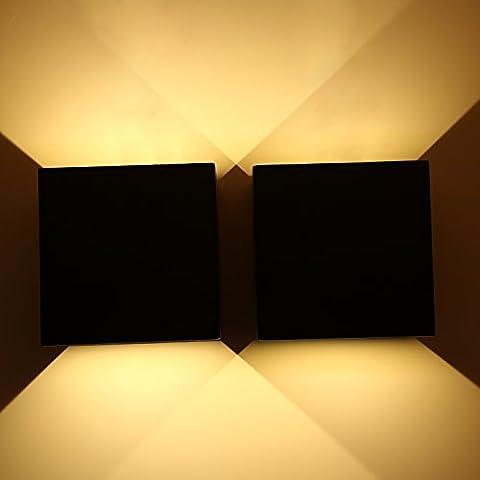 Topmo 2er Pack 12W LED Wandlampe mit einstellbar Abstrahlwinkel Wasserdichte IP65 Wandbeleuchtung 3000K Warmweiß Quadrat LED Außenwandleuchten (schwarz)