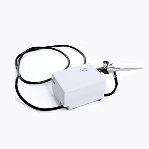 LWAY Dual Action Mini Airbrush Mit Kompressor 0.4mm 7cc Airbrush Komplett Kit Lackierwerkzeug für Makeup Nail Hobby Modell Handwerk Spritzen Spritzpistole,White