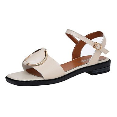 LvYuan Da donna Sandali Finta pelle Estate Footing Fibbia Heel di blocco Nero Beige Marrone scuro 2,5 - 4,5 cm Black