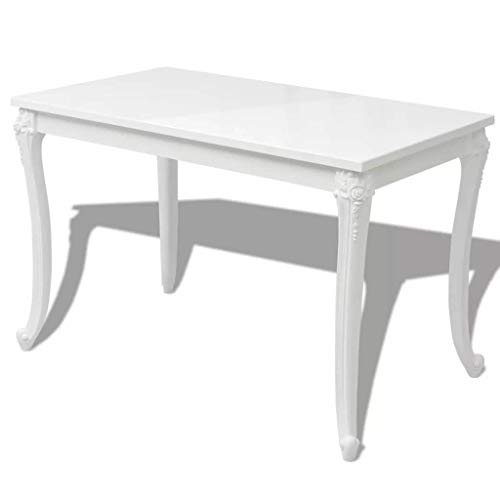 Festnight Rechteckig Tisch Esstisch Esszimmertisch Küchentisch 116 x 66 x 76 cm für Küche oder Esszimmer - Hochglanz-Weiß -