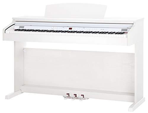 Classic Cantabile DP-50 WM E-Piano (Digitalpiano mit Hammermechanik, 88 Tasten, 2 Anschlüsse für Kopfhörer, USB, LED, 3 Pedale, Piano für Anfänger) weiß matt