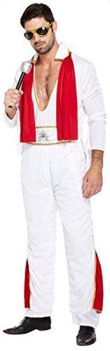 Herren 1950s Elvis Presley Hartschale People Duft des berühmten britischen Musik 50s Fancy Kostüm Anleitung für Damenkleider für Fahrräder mit Halterung und XL - Weiß, (Elvis Kostüme Herren)