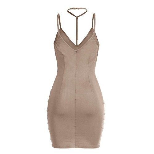 SHISHANG Robe de dames mode 3 couleurs sélection haut été élastique robe dos nu col V Light Brown