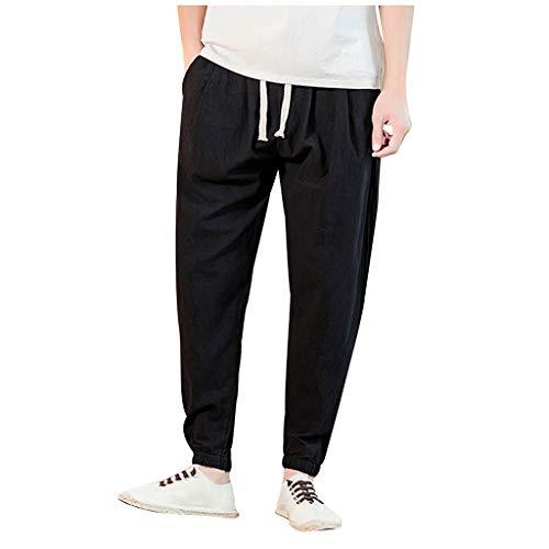 Preisvergleich Produktbild Herren Hosen Lang Chino Sommerhose,  Herren Casual Vintage Lose Baumwolle Leinen Pure Color Comfort Knöchellange Hose