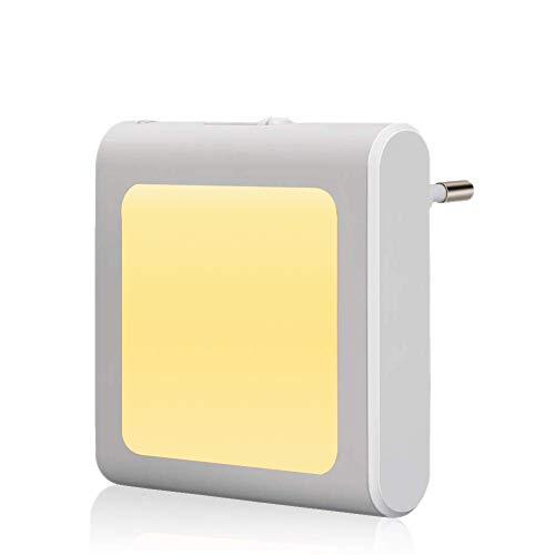 1 Stück LED Nachtlicht Steckdose mit Dämmerungssensor, Helligkeit Stufenlos Einstellbar Energiesparend Baby Licht Automatisch Orientierungslicht Warmweiß (2700K 1 Stück) -