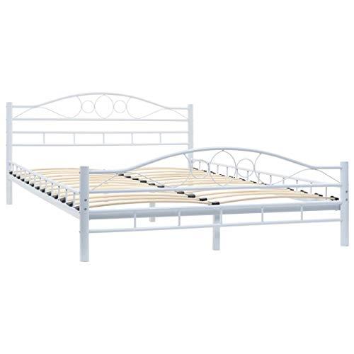 vidaXL Metallbett mit Lattenrost 140x200cm Schlafzimmerbett Bettgestell Bett