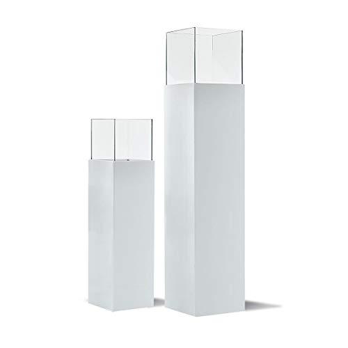 Pureday Windlicht-Säule hochglänzend Outdoor Glas Kunstoff-Alluminium-Verbund - groß (ca. B25 x T25 x H120 cm)