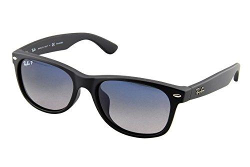 Ray-Ban New Wayfarer Sunglasses (RB2132) Black Matte/Blue Plastic - Polarized - 55mm