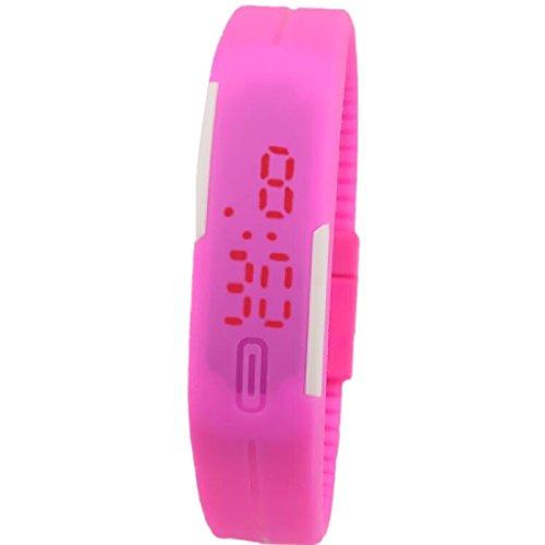Unisex Fashion pulsera pantalla táctil LED Digital relojes mujer reloj de pulsera rosa rojo