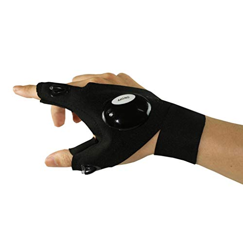 LED Taschenlampe Licht Angeln Handschuhe, Atmungsaktiv Outdoor Licht Glanz Handschuhe, Elektromaschinen Handschuhe Für Arbeiter (Stil : Rechte Hand)