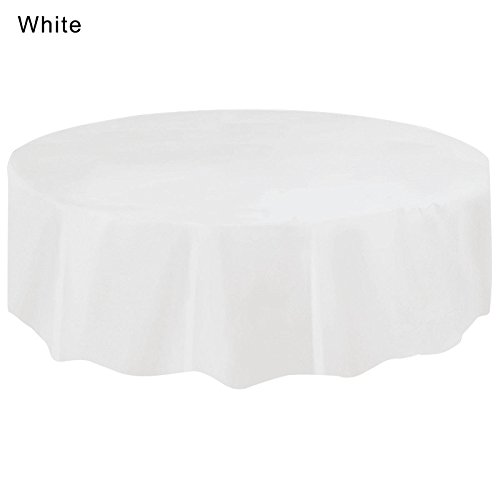 Farbe Einweg Kunststoff PE Tisch Cover für Haushalt Party Geburtstag weiß ()