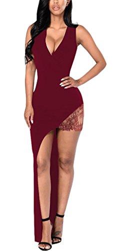 Damen Cocktailkleid Wickeloptik Etuikleider Die Neue Tiefem V-Ausschnitt Ärmellos Taille Stretch Geöffnete Gabel Irregular Spitze Stitching Einfarbig Wein rot