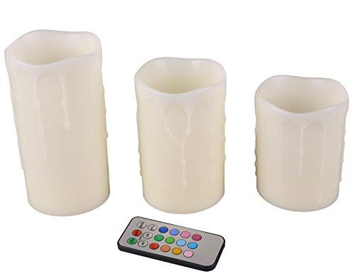 LED-Kerzen, Echtwachs, Flammenlose Kerzen, mit Timer und Fernbedienung, Farbwechsel, 3 Stück