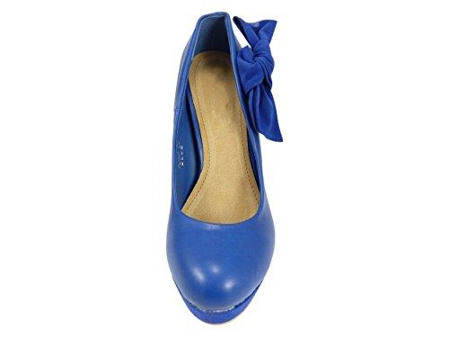 Escarpins noeud bi-matière à plateforme et talons Bleu