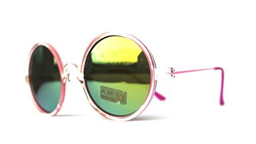 Kinderbrille kleine Brille Sonnenbrille Brille Sommerbrille rund runde Gläser (V16-1320-pink)