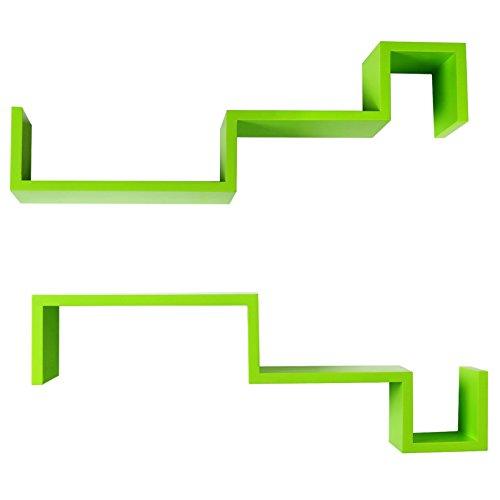 Mensole Verde Acido.Woltu Rg9245gn Mensola Da Muro Scaffale Parete Libreria Cd Decorazione Per Cameretta Salotto Legno Mdf Moderno 2 Pezzi Verde 77x15x25 5cm