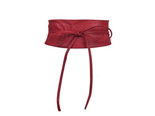CALIYO Taillengürtel Taillen Gürtel Damen Gürtel für Damen Wickelgürtel Bindegürtel in modischen Farben One Size SA-46 (Rot)